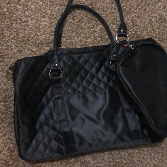 Black satin duffel bag